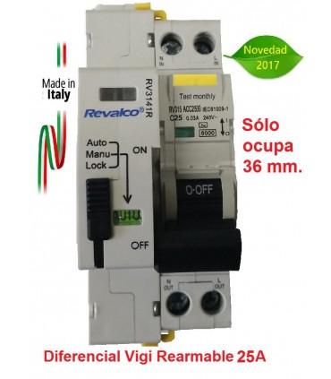 Diferencial Vigi 25A 30mA Rearmable 2P, en 2 módulos