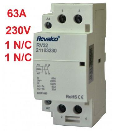Contactor Modular 2P 63A - 230Vca 1 N/A -1 N/C