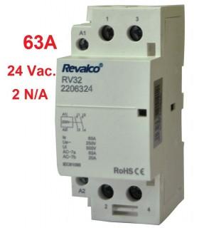 Contactor Modular 2P 63A - 24Vca 36mm 2N/A