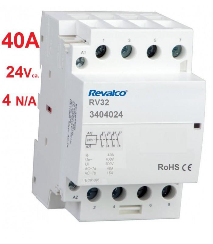 Contactor modular 4P 40A, 24Vca, 4N/A