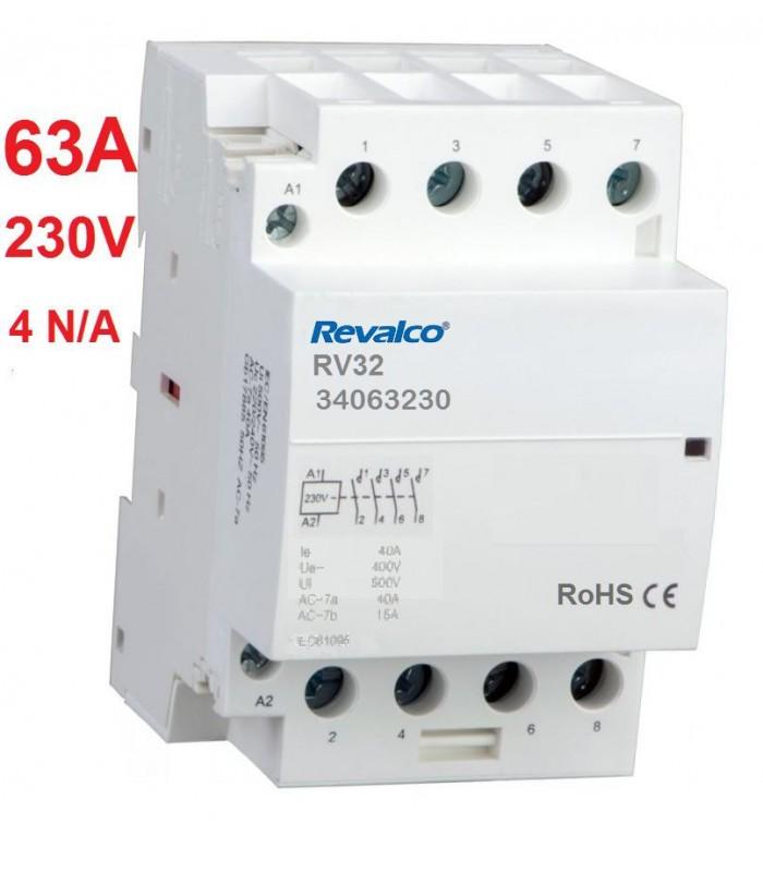 Contactor modular 4P 63A, 230Vca, 4N/A