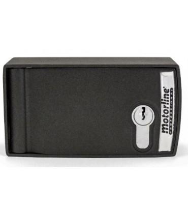 Caja de aluminio control cerradura para exteriores con botón y palanca de desbloqueo