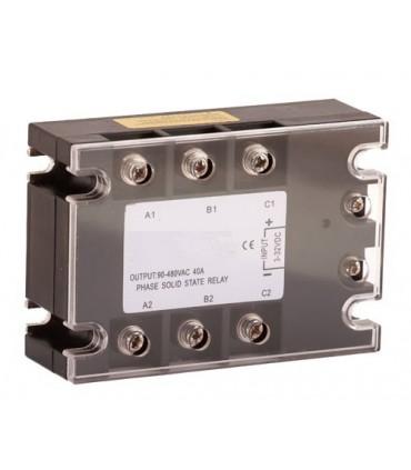Relé 40A-3~32VDC de estado  Sólido trifásico