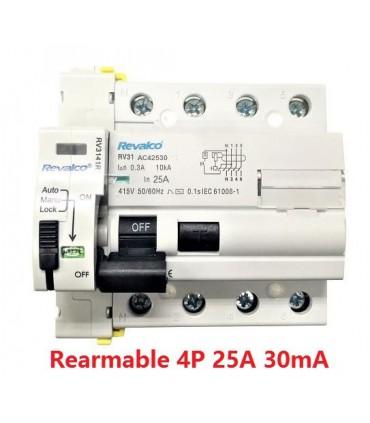 Rearmable 25A trifásico 30mA 10kA clase AC