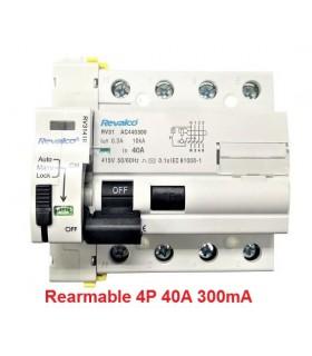 Rearmable 40A trifásico 300mA 10kA clase AC
