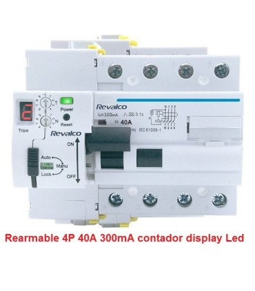 Rearmable 40A 300mA AC reconector LED