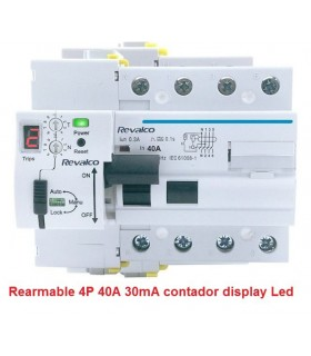 Rearmable 40A 30mA AC reconector LED