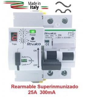 Superinmunizado Rearmable 25A 300mA 2P con contador