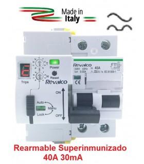 Superinmunizado Rearmable 40A 30mA 2P con contador