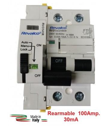 Diferencial 100A 30mA Rearmable 2P 10kA