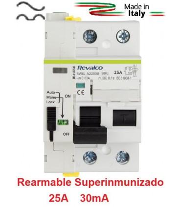 Superinmunizado Rearmable 25A 30mA 2P, 10kA
