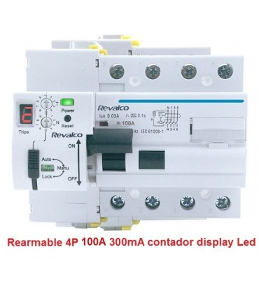 Rearmable 4P 100A 300mA contador LED 10kA
