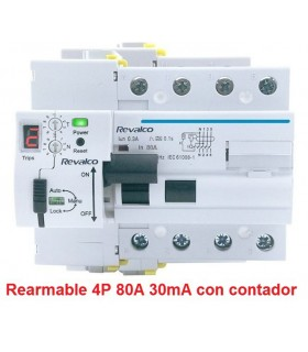 Rearmable 4P 80A 30mA contador LED 10kA