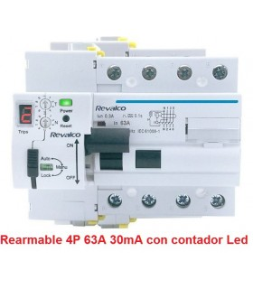 Rearmable 4P 63A 30mA contador LED 10kA