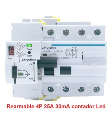 Rearmable 4P 25A 30mA contador LED 10kA