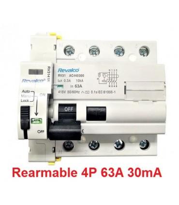 Rearmable 63A trifásico 30mA 10kA clase AC