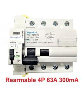 Rearmable 63A trifásico 300mA 10kA clase AC