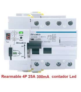 Rearmable 4P 25A 300mA contador LED 10kA