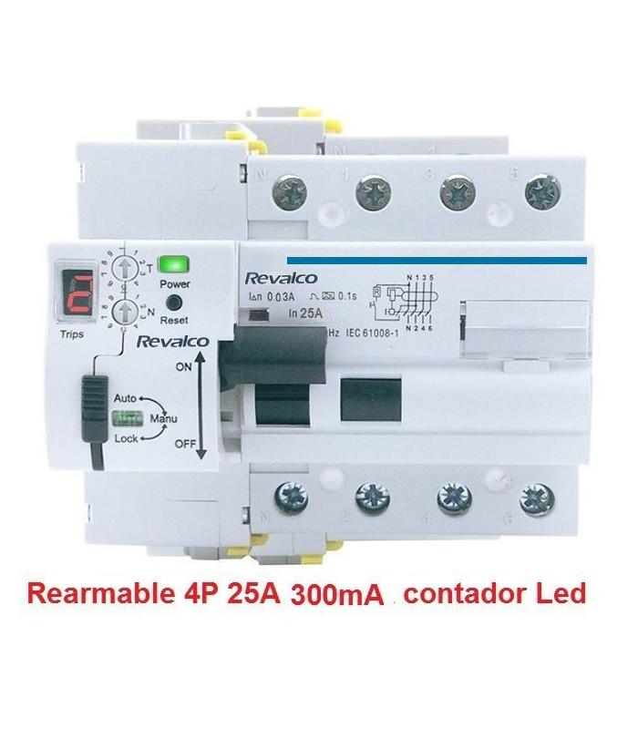 Rearmable 4P 25A 300mA contador LED 10kA