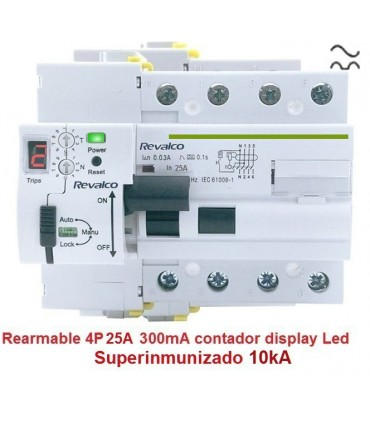 Superinmunizado 4P 25A 300mA contador LED
