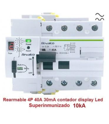 Superinmunizado 4P 40A 30mA contador LED