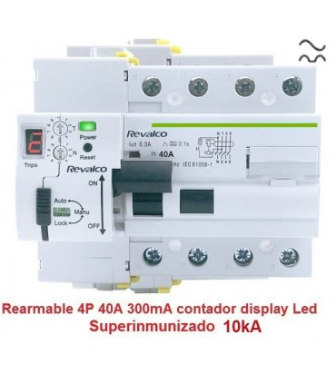 Superinmunizado 4P 40A 300mA contador LED