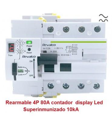 Superinmunizado 4P 80A 30mA contador LED