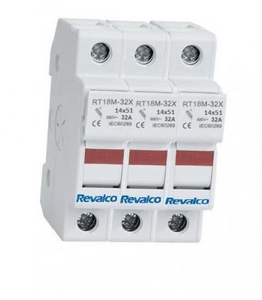 Base 14x51 portafusible con led de estado 3 Polos