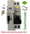 Superinmunizado 25A Rearmable 1+N, 30mA en 36mm