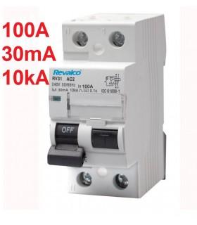 Diferencial 100A 30mA 2 Polos tipo AC 10kA