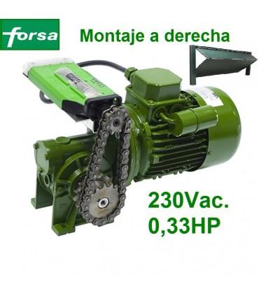Motor 230V de ataque al eje basculante montaje a derecha