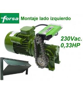 Motor 230V de ataque al eje basculante montaje a izquierda