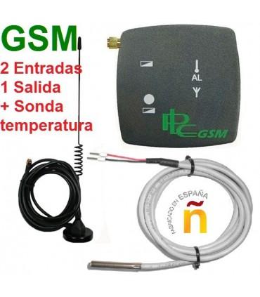 Telemando GSM con 2 entradas 1 salida + Sonda de temperatura