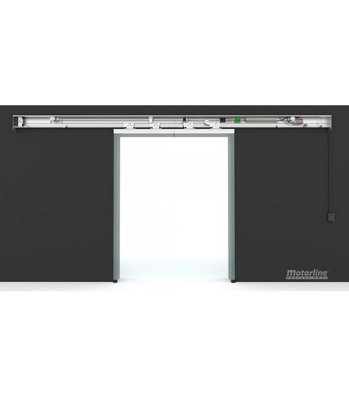 Kit  puerta automática de cristal 2 hojas x1m