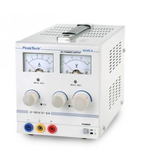 Fuente de alimentación analógica, 0-30V/0-5A DC