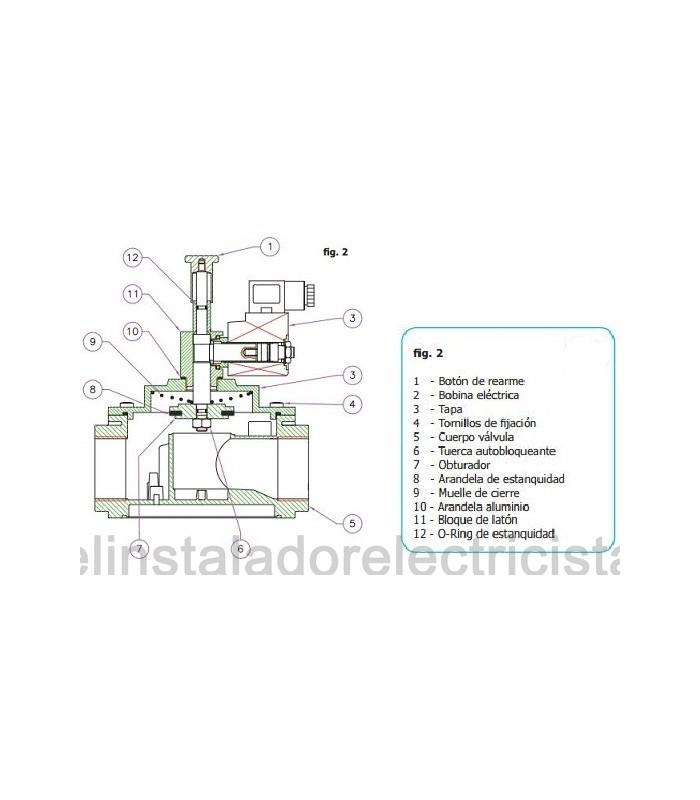 "Electroválvula de gas con rearme manual 1/2""L 500bar 12Vcc"
