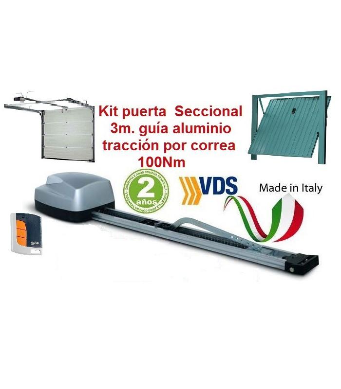 Kit Motor Utile 100K seccional guía Aluminio 3m c/correa