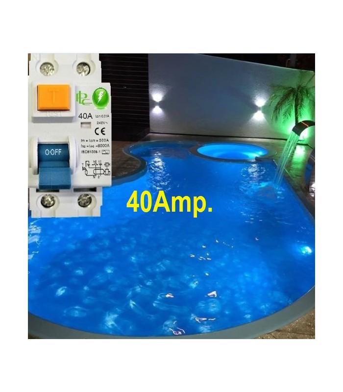 Especial Diferencial 40A Sensibilidad 10mA Tipo AC, Zonas Húmedas
