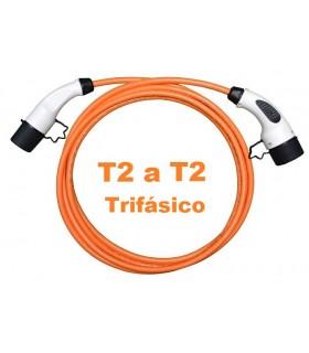Cable Trifásico de recarga 32A Tipo2 a Tipo2, de 5m