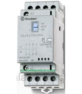 22.34.0.230.4340 Finder Contactor modular 25 A - 4 contactos