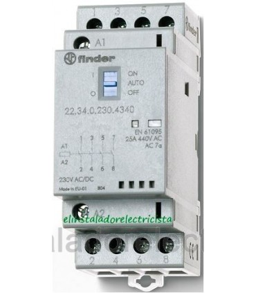 Finder Contactor modular 25A 4 contactos 22.34.0.230.4340