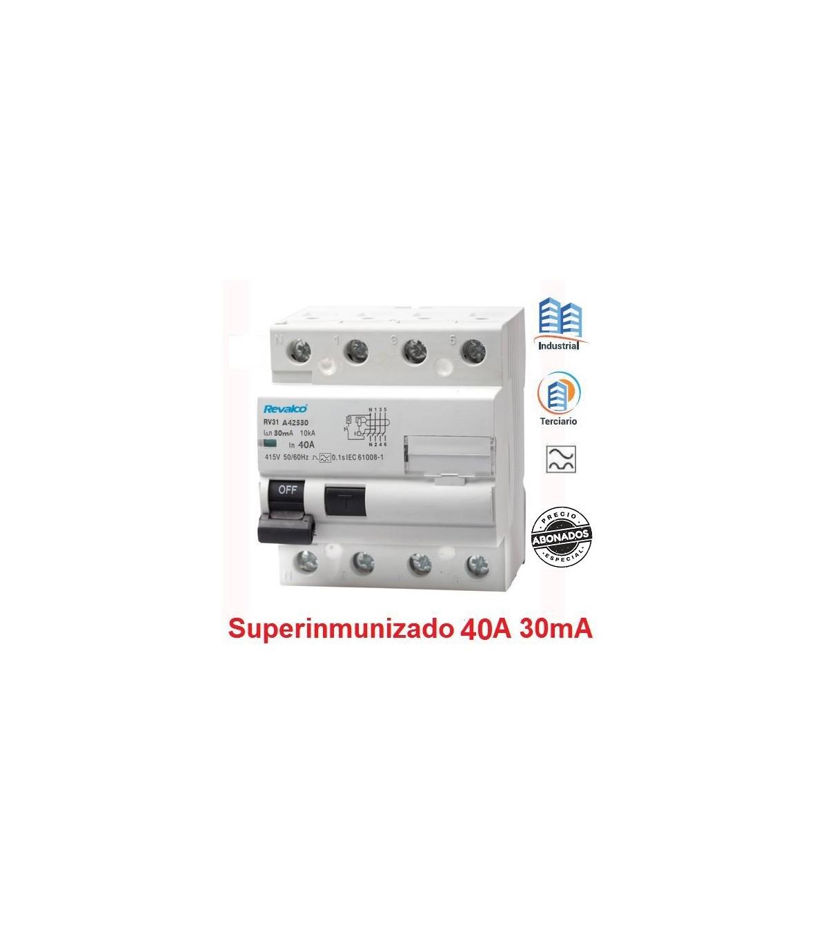 Clase A Revalco Interruptor diferencial SUPERINMUNIZADO 4P 40A 30mA 10kA RV31