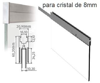 Pinza para puerta de cristal de 8mm